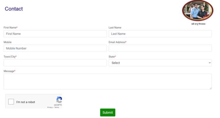 Sehat-opd-portal-Contact-form